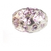 Glass Lamp Bead Oval 11x8mm Crystal/Amethyst